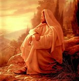 Jesus looking over, and weeping over, Jerusalem